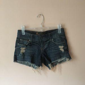 car mar distressed denim shorts